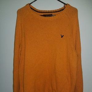 Orange Crew Neck Sweater w/ patch elbow